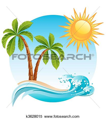Clipart of Palms on empty idyllic tropical sand beach k6685191.