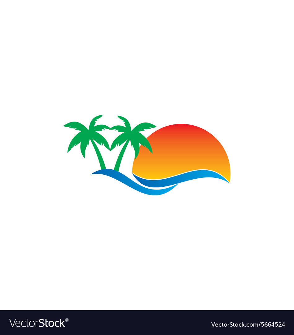 Beach travel pine tree tropic logo.