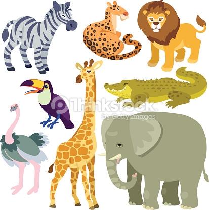 Cartoon African Animals Set Vector Art.