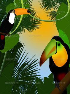 Tropical jungle bush nature vector.