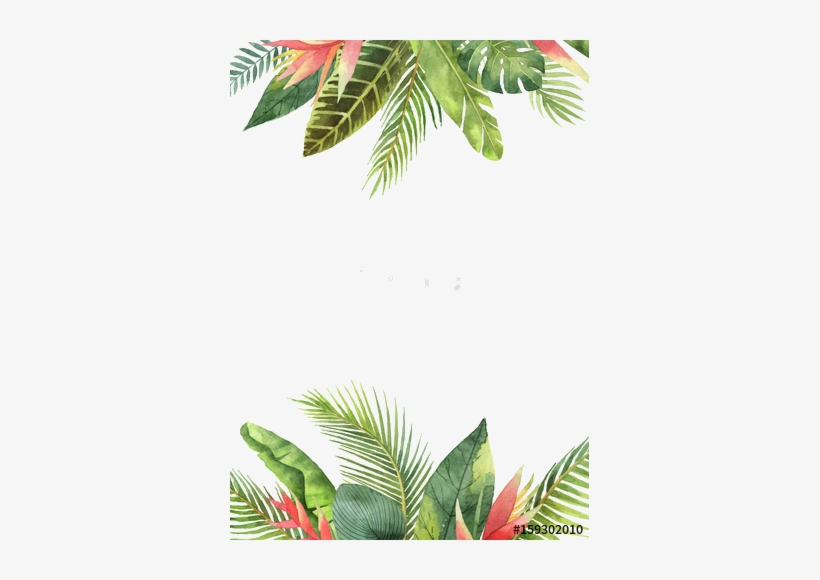 Tropical Leaves Background Watercolor.