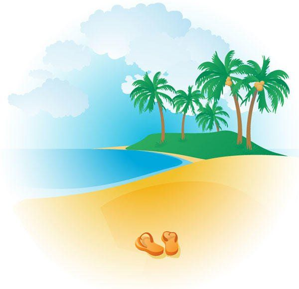 Free Tropical Beach Vector 123freevectors.