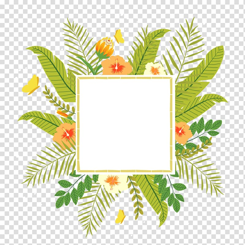 White and green floral border illustration, Tropics Flower.