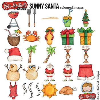 Tropical Christmas Clip Art: \