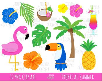 50% sale TROPICAL SUMMER clipart, flamingo clipart.
