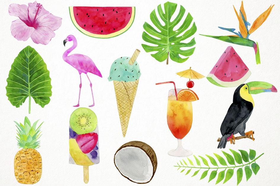 Watercolor Tropical Clipart, Flamingo Clipart, Summer Clipar.