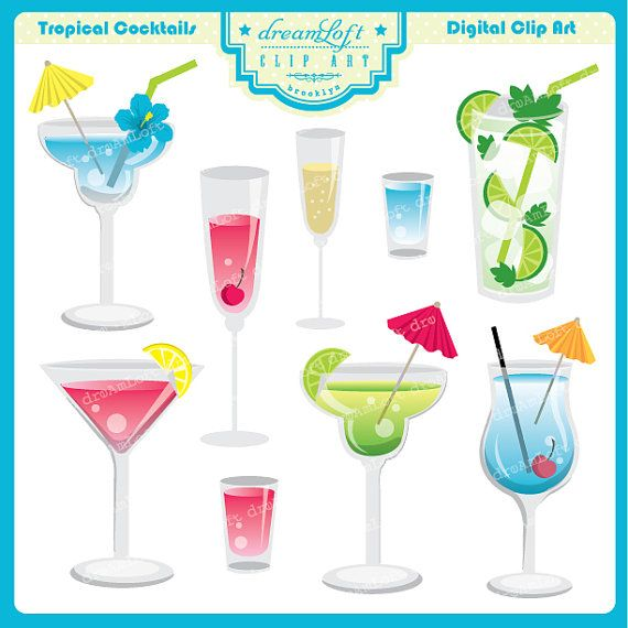 Tropical Drink Clipart Set for summer party themes.