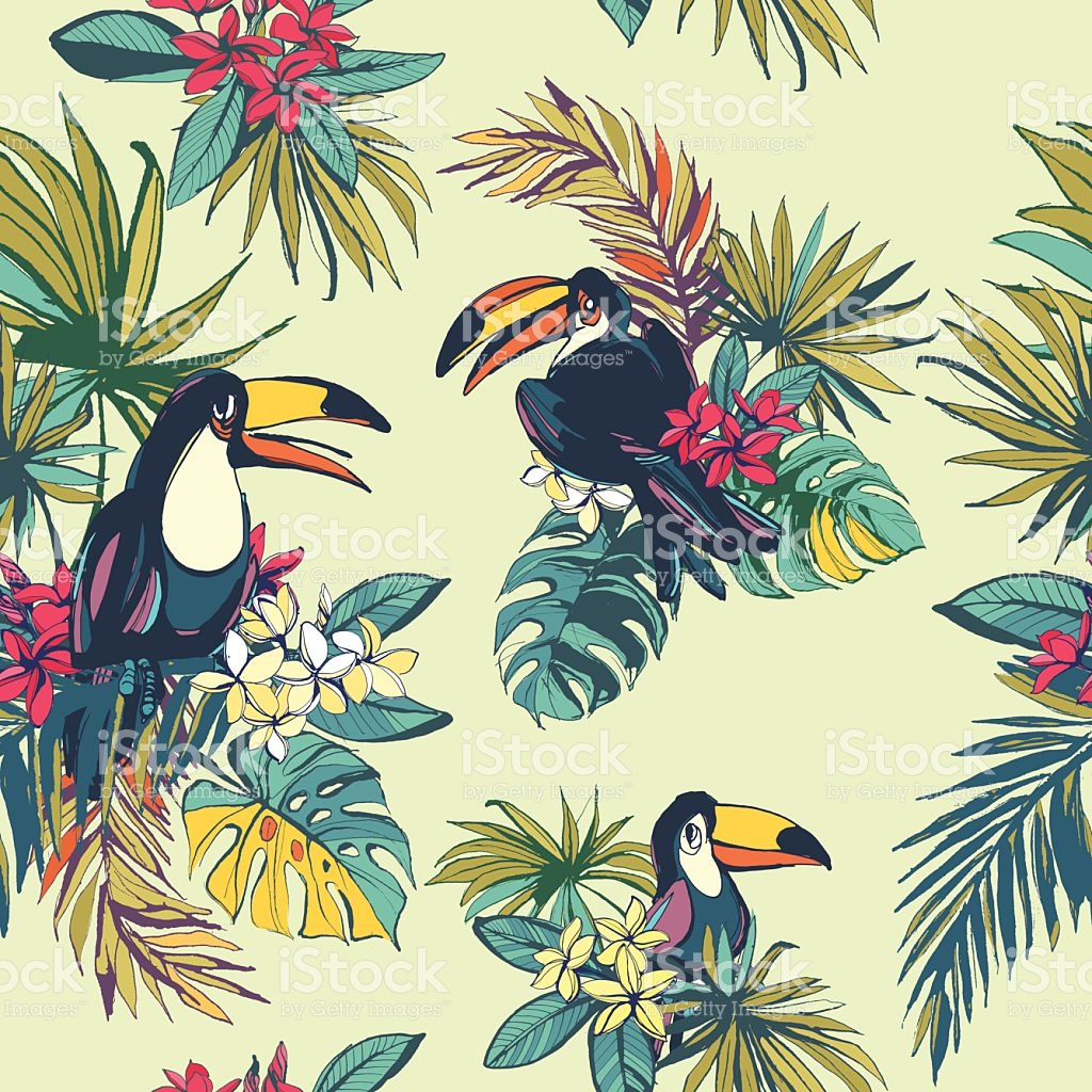 Tropical Floral Summer Seamless Pattern With Palm Beach Leaves.