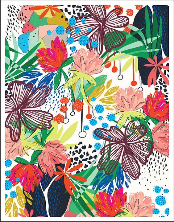 HONDURAS 8.5 x 11 modern tropical floral art by khristian a howell.