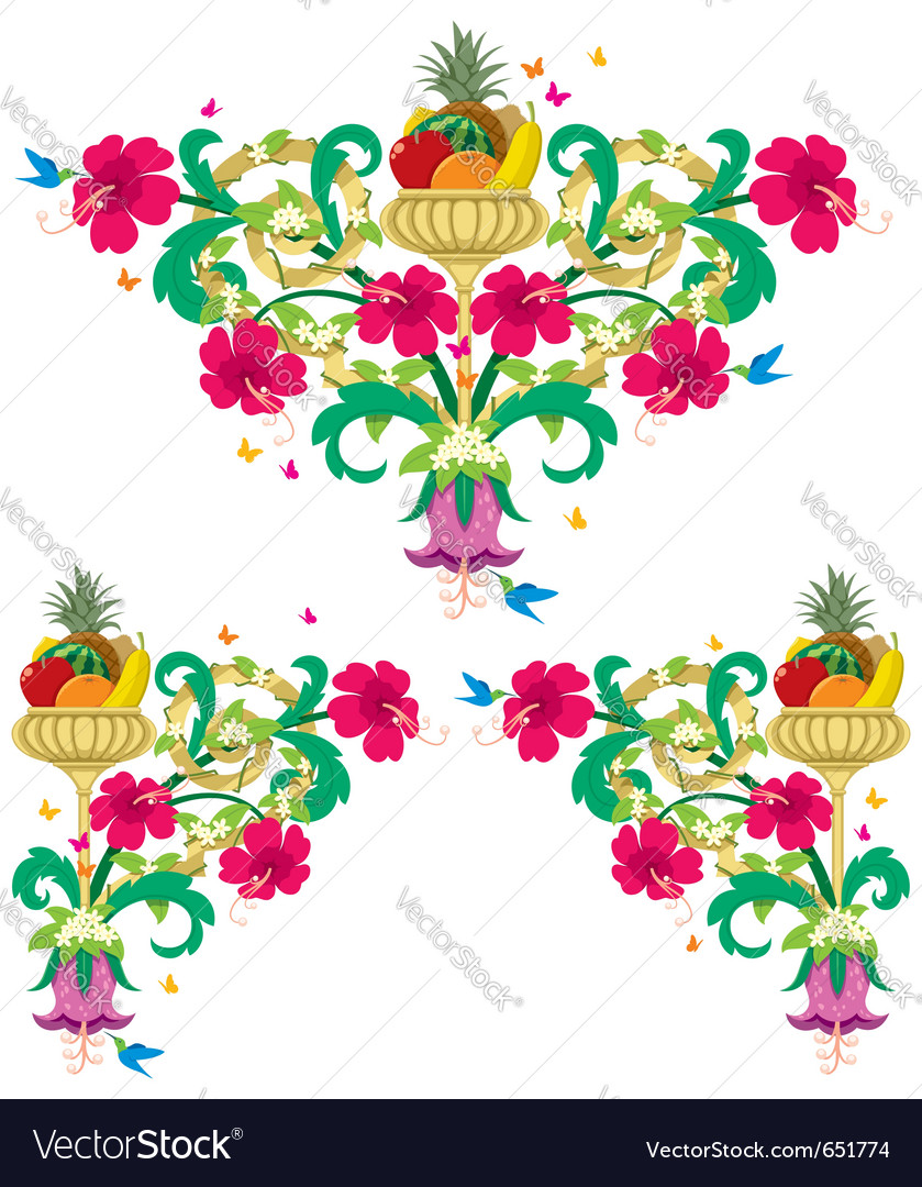 Tropical floral borders Vector Image by Malchev.