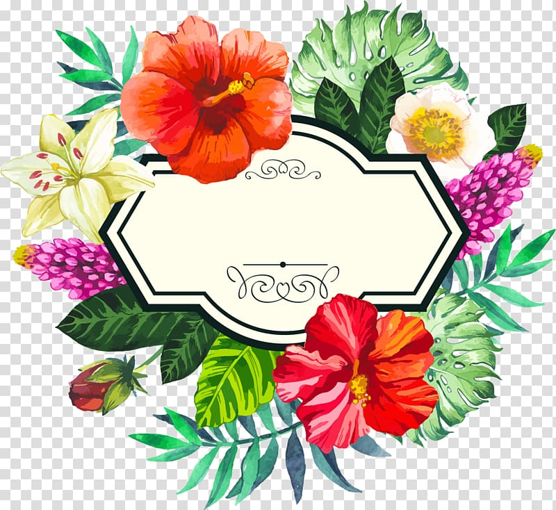 Flower frame , Hand painted watercolor tropical borders.