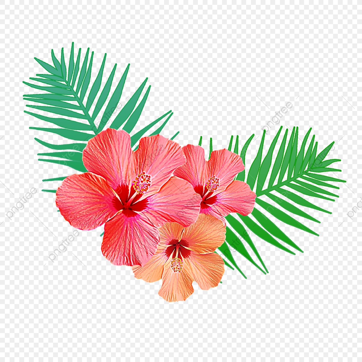 Tropical Flowers With Palm Leaves, Background, Floral.