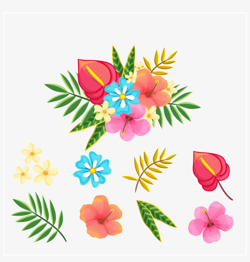 Tropical Flower And Leaf Vector.