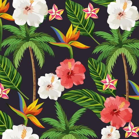 tropical flowers and plants palm background.