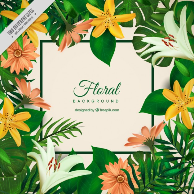 Exotic flowers and palm leaves background Vector.