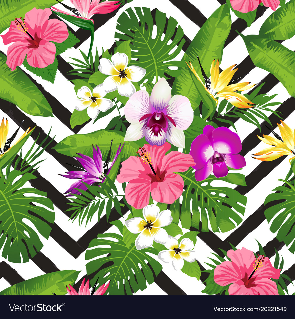 Tropical flowers and palm leaves on zig zag.