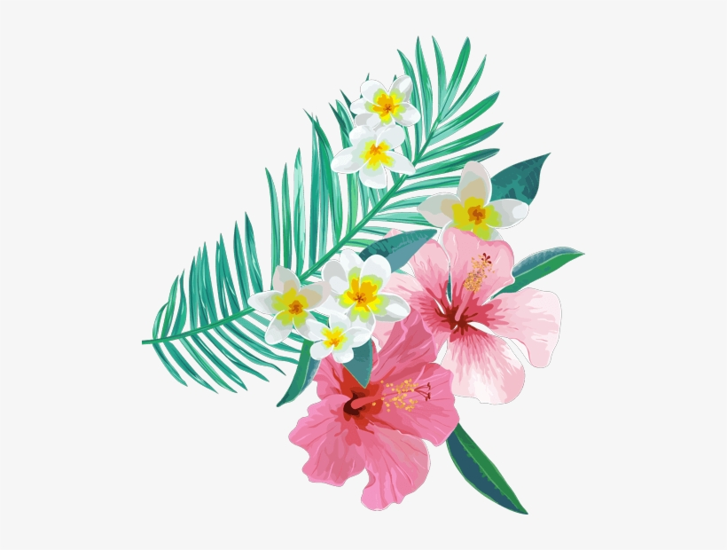 Tropical Leaves Flowers Plants Ftestickers.