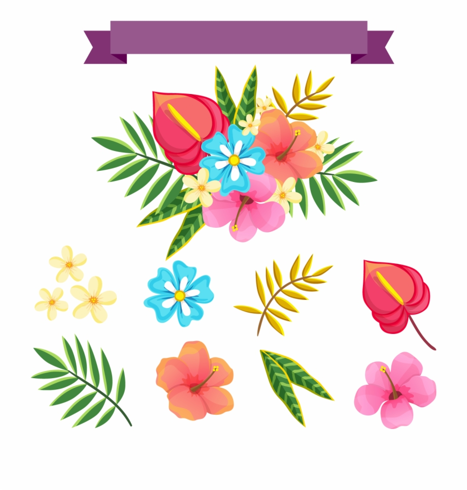Tropical Flowers Pattern Png.
