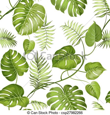 Clip Art Vector of Tropical leaves design..