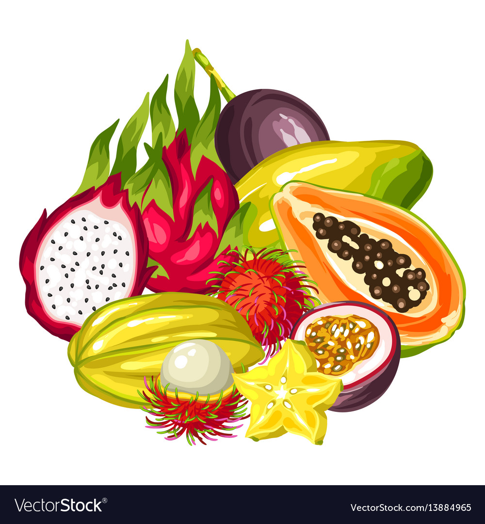 Exotic tropical fruits collection of.