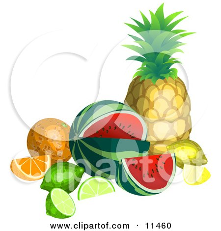 Clipart of a Tropical Pineapple Fruit.