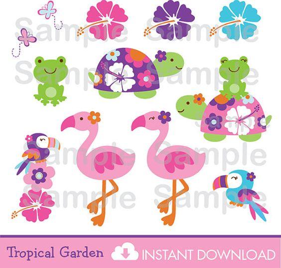 Cute Turtle Cipart / Frog Clipart / Flamingo Clipart / Tropical.