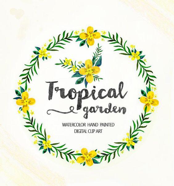 Wreath clip art, Tropical floral clipart, Wedding floral Clip art.