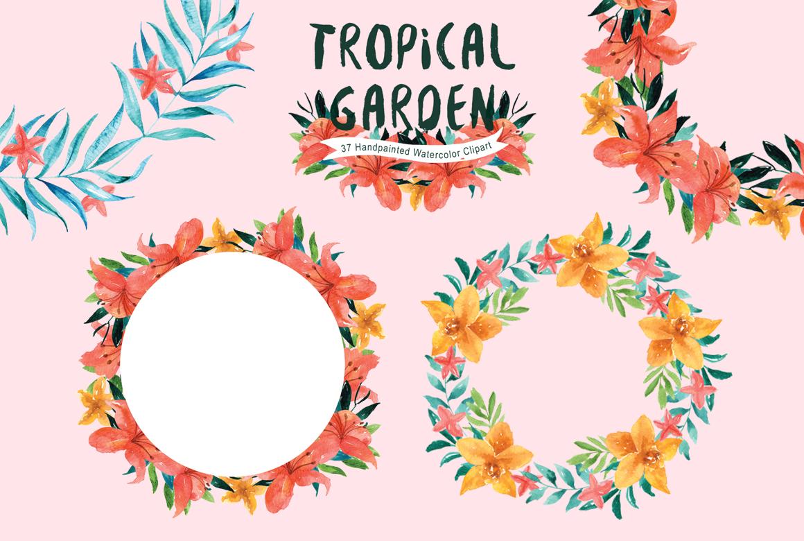 Tropical Garden Watercolor clipart by everysunsun.