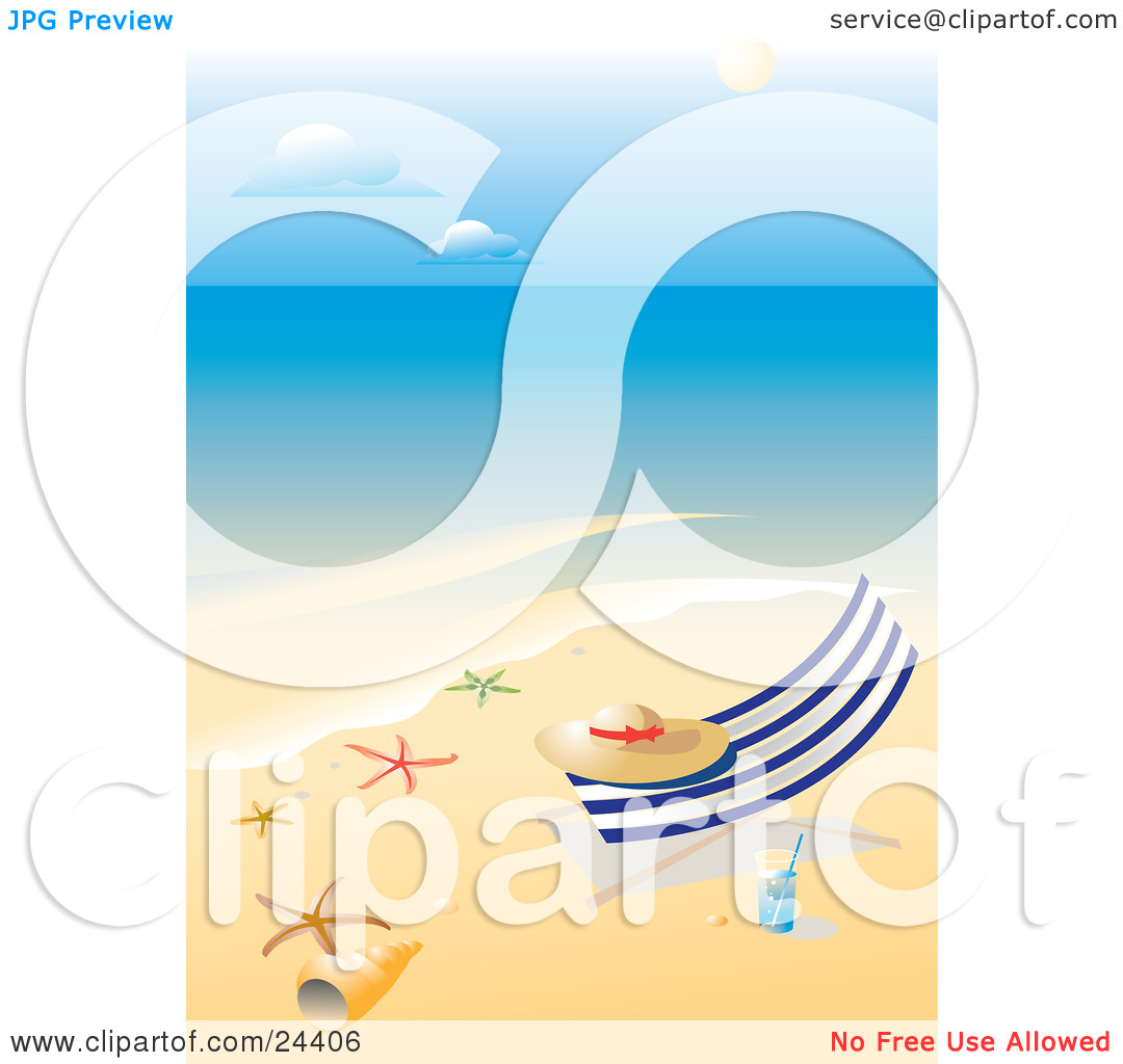 Clipart Illustration of a Straw Hat Resting On A Lounge Chair On A.