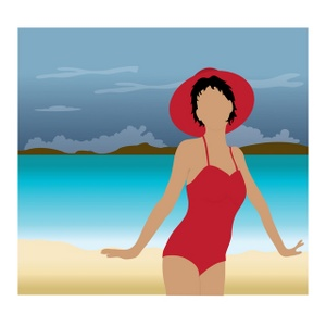 Woman On A Beach Clipart Image.