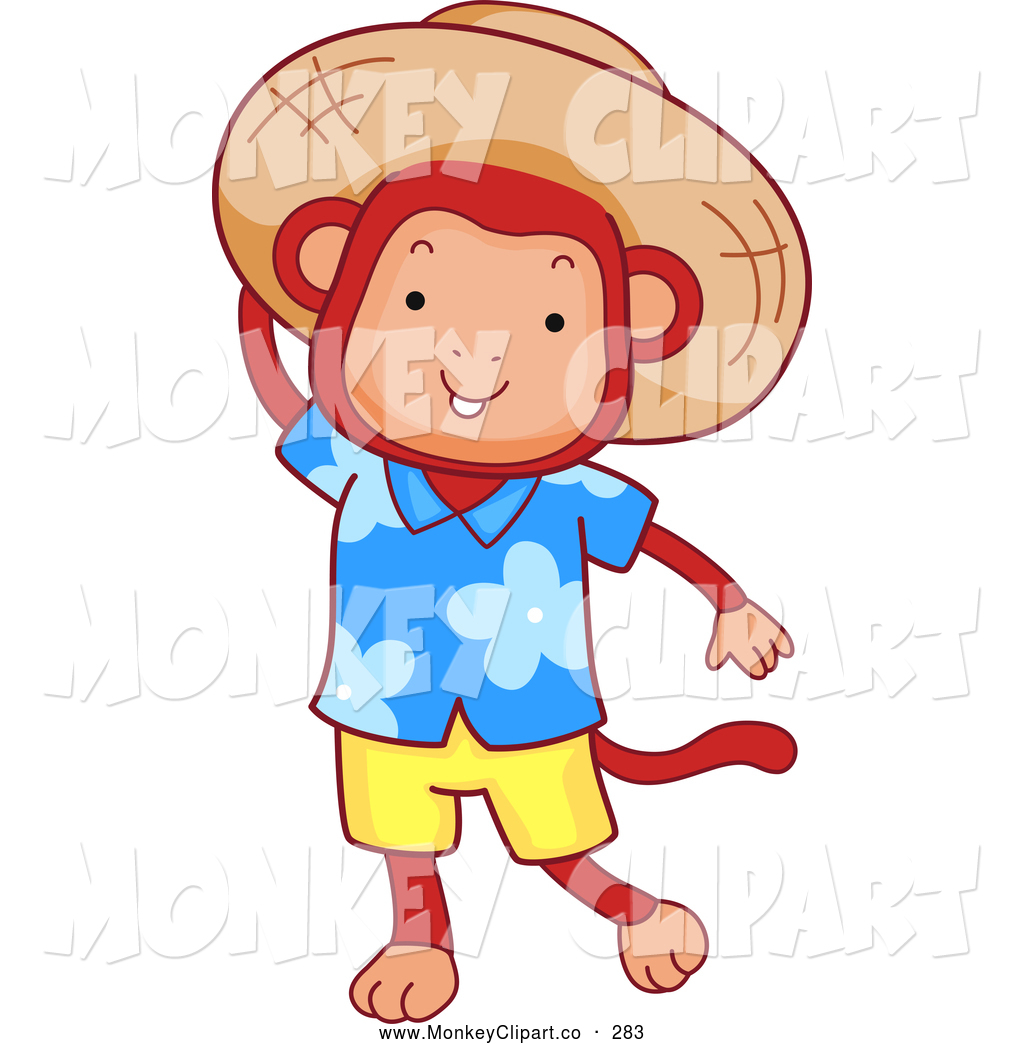 Clip Art of a Tourist Tropical Monkey Wearing a Sun Hat by BNP.