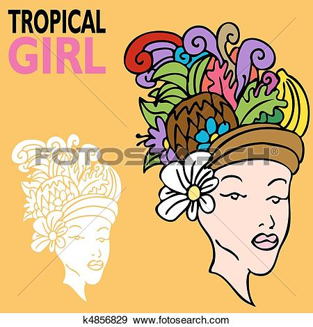 Clip Art of Tropical Girl with Fruit Hat k4856829.