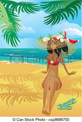 Vector Clipart of Girl on a tropical beach with straw hat.