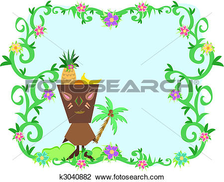 Clipart of Frame of Tropical Plants, Tiki and Fruit Hat k3040882.
