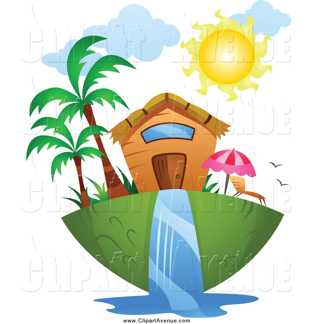 Avenue Clipart of a Tropical Home and Waterfall by BNP Design.