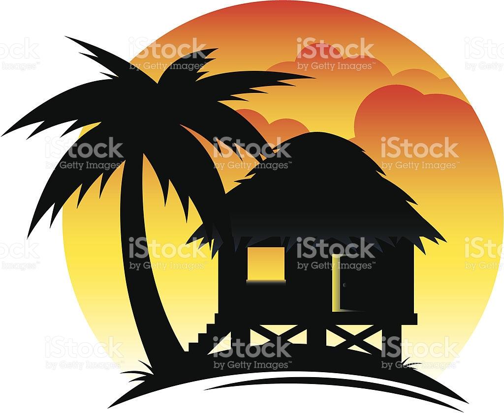 Tropical Hut At Sunset stock vector art 165793585.