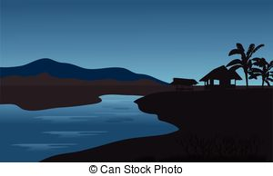 EPS Vectors of Silhouette of hut and palm at the morning.