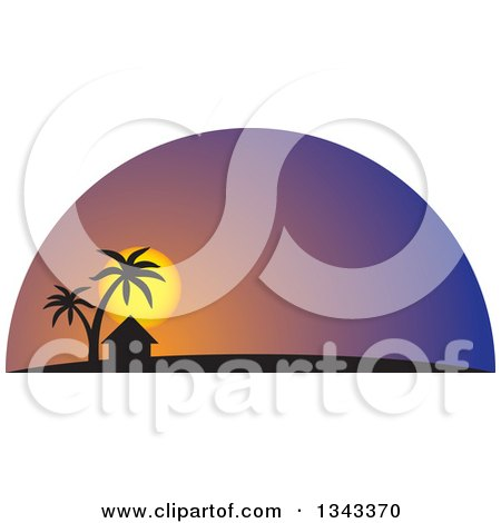 Clipart of a Silhouetted Hut and Palm Trees Against a Tropical.