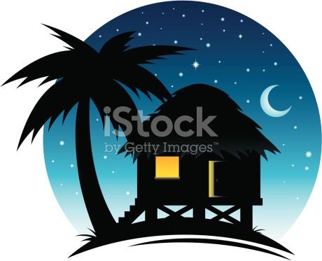 Tropical Hut At Night stock vector art 165788004.