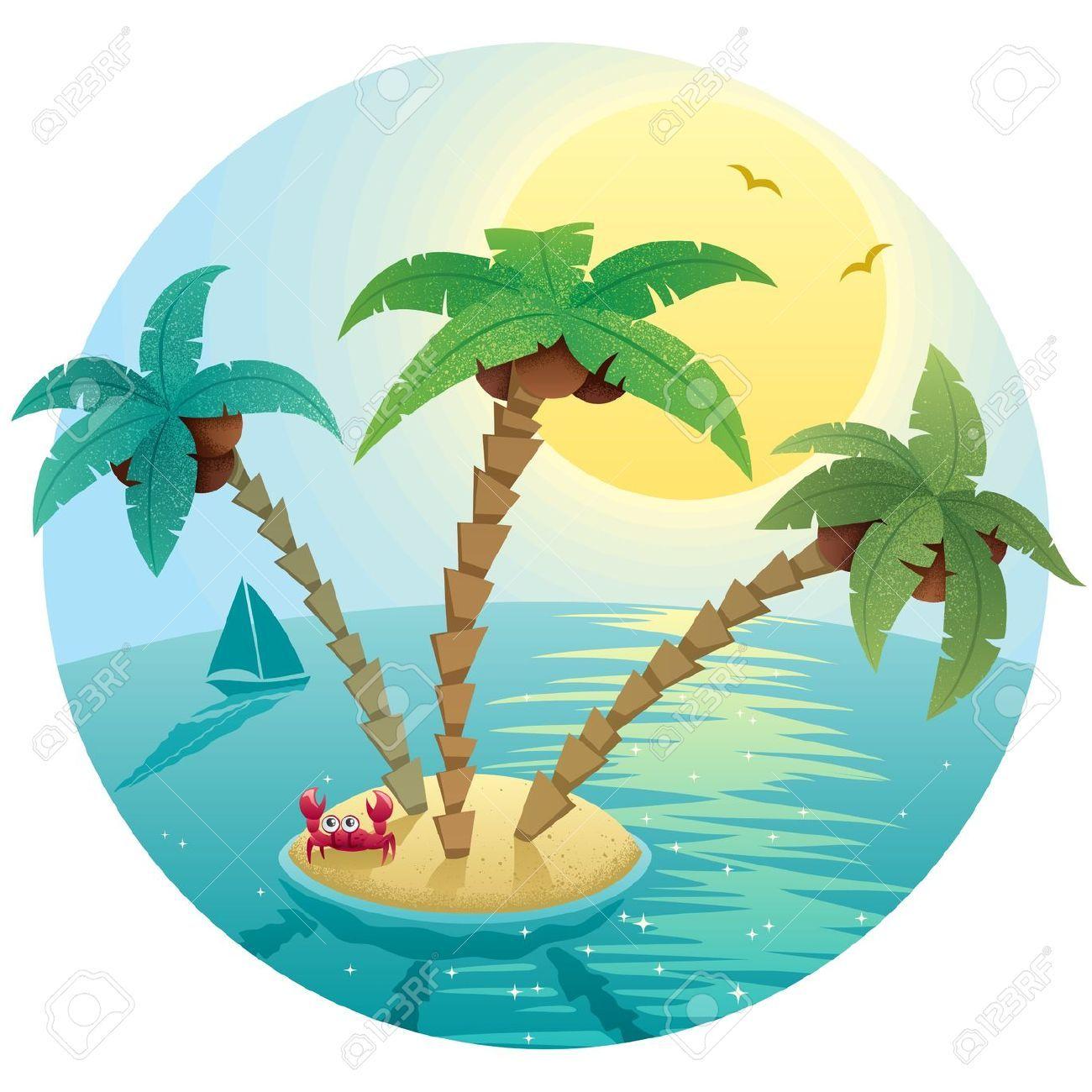 landscape small tropical island stock vector cartoon palm.