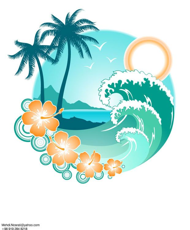 TROPICAL SUMMER ISLAND CLIP ART.