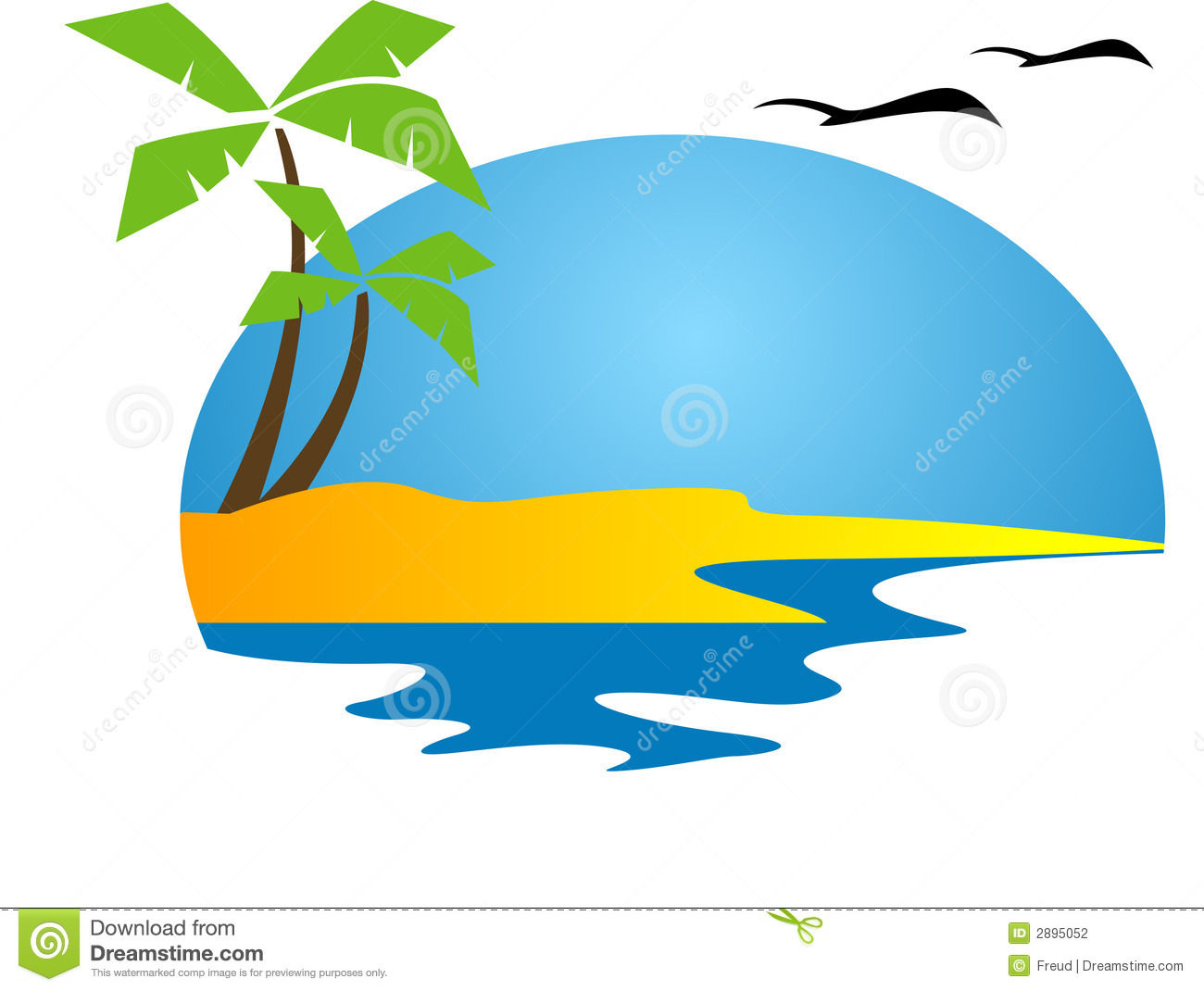 Island Sunset Clipart.