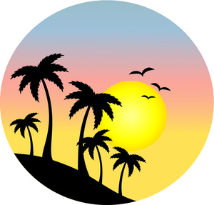 Palm Tree Sunset Clipart.