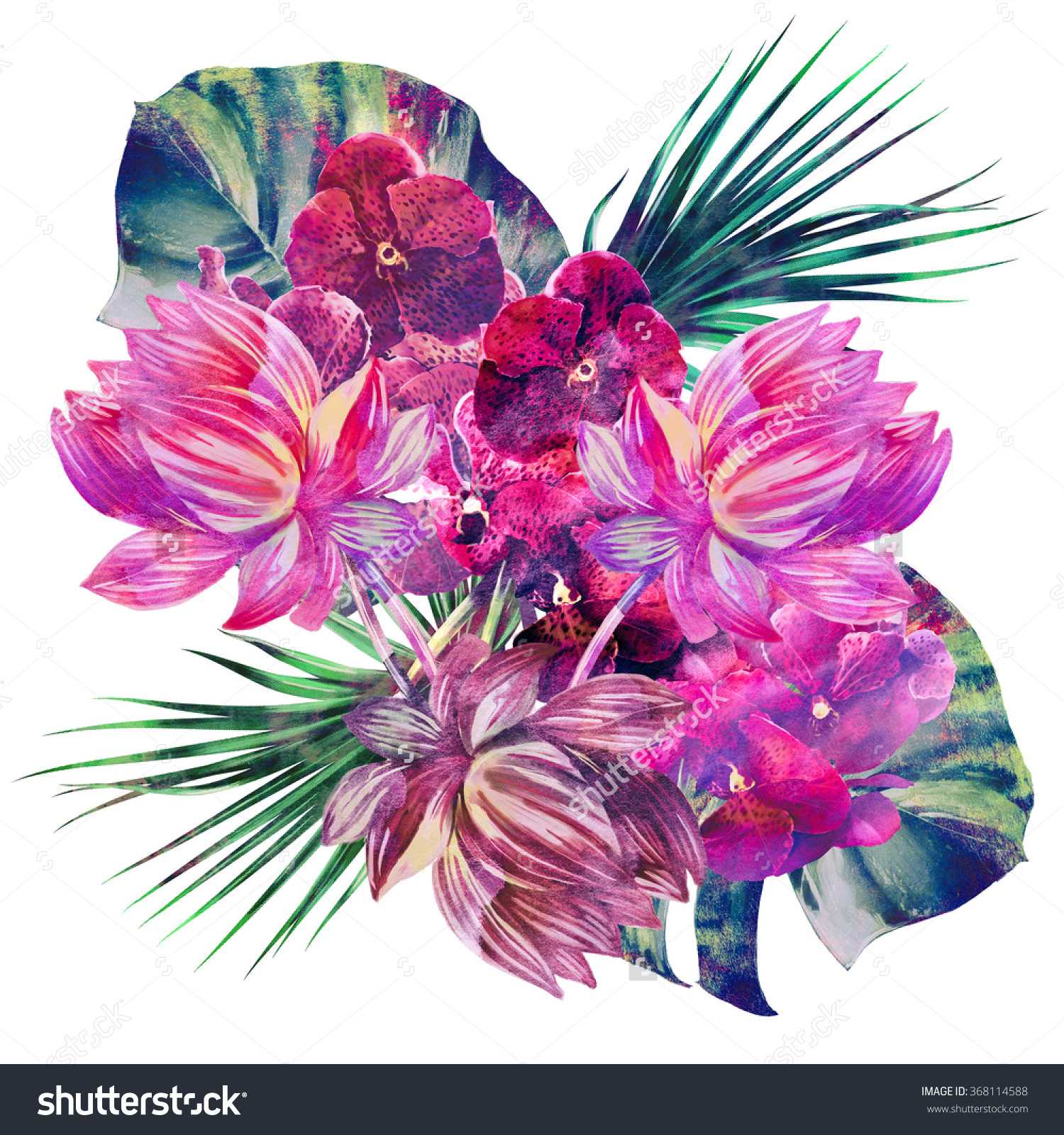 Watercolor Tropical Flowers Palm Leaves Exotic Stock Illustration