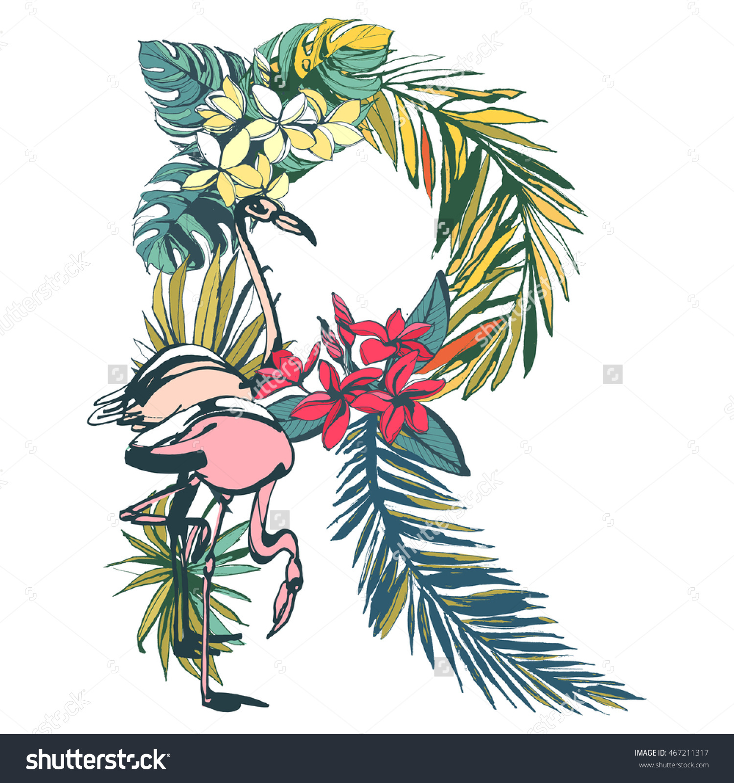Illustration Tropical Floral Summer Pattern Hand Stock.