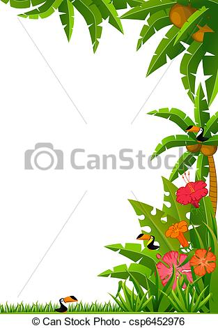 Stock Illustration of tropical plants and parrots.