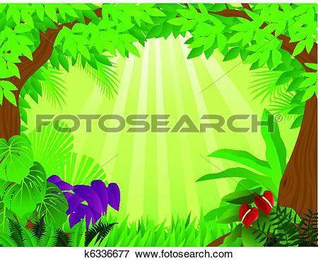 Stock Illustration of Tropical rainforest background k6336676.
