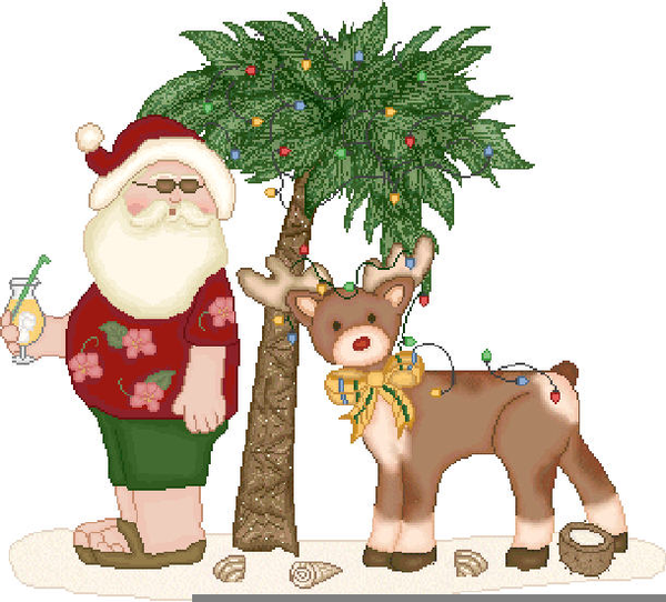 Tropical Santa Claus Clipart.