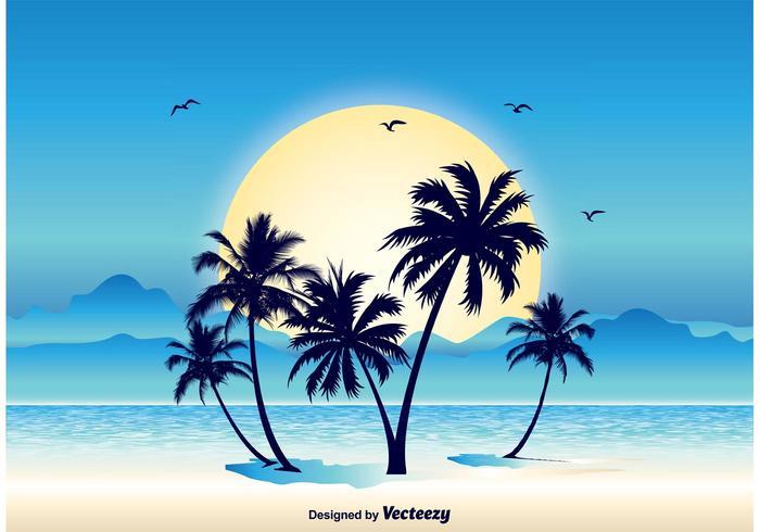 Tropical Scene Illustration.