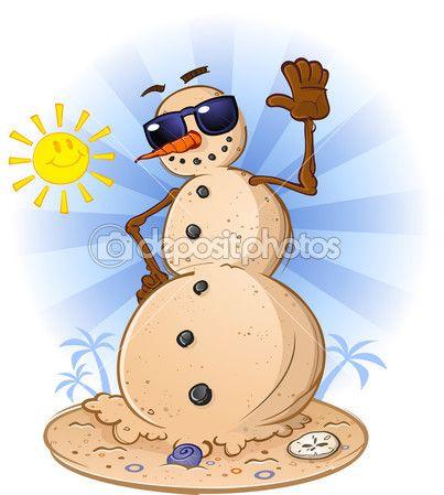 Tropical Beach Snowman — Stock Vector © aoshlick #12842541.